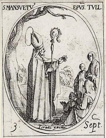 Den hellige Mansuetus, gravering av Jacques Callot (1592-1635)