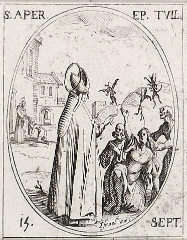 Den hellige Aprus, gravering av Jacques Callot (1592-1635)